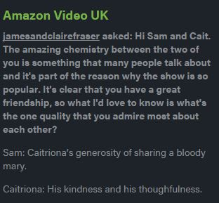 Sam Heughan and Caitriona Balfe Amazon UK Q&A on Tumblr