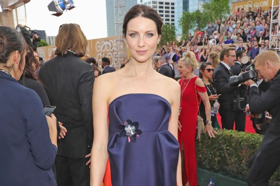 BEVERLY HILLS, CA - JANUARY 08:  74th ANNUAL GOLDEN GLOBE AWARDS -- Pictured: Actress Caitriona Balfe arrives to the 74th Annual Golden Globe Awards held at the Beverly Hilton Hotel on January 8, 2017.  (Photo by Neilson Barnard/NBCUniversal/NBCU Photo Bank via Getty Images)